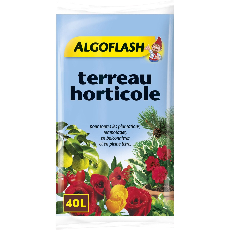 terreau horticole algoflash 40 l leroy merlin