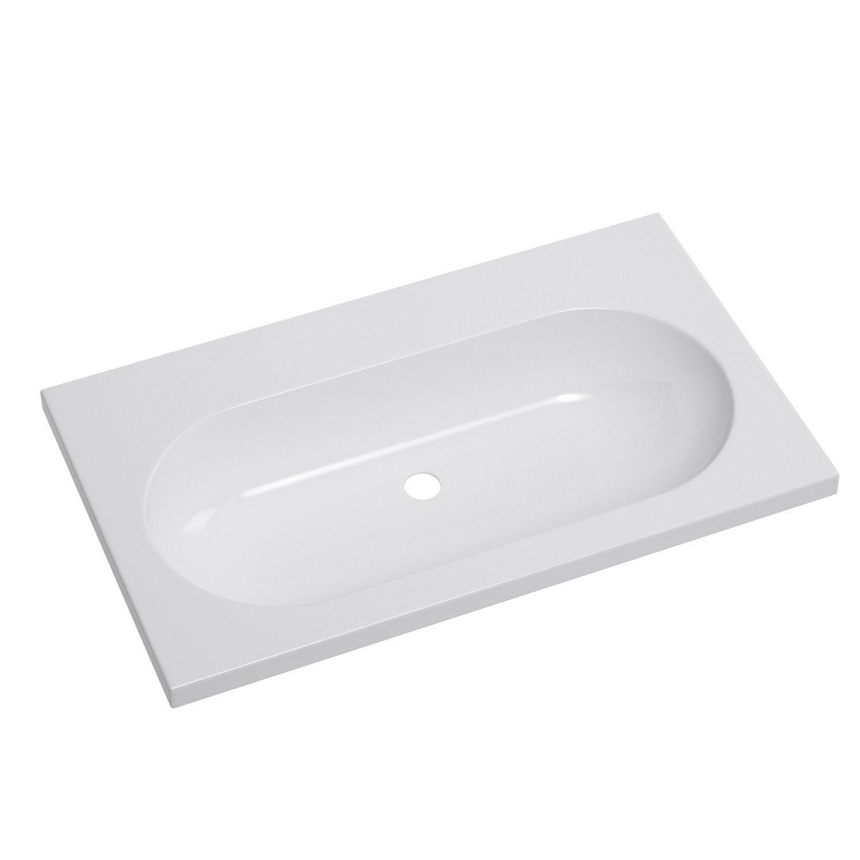 Plan vasque simple opale c ramique 81 0 cm leroy merlin for Plan vasque leroy merlin