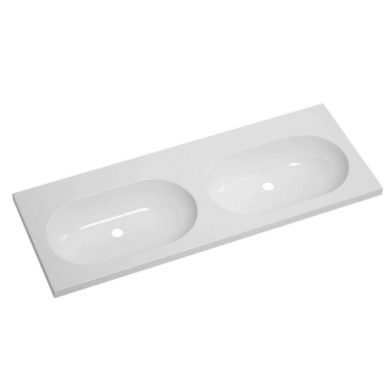 Plan vasque double opale c ramique 121 cm leroy merlin for Double vasque 140 cm leroy merlin