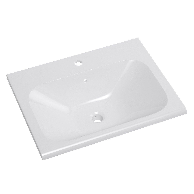 Plan vasque simple opale c ramique 61 cm leroy merlin for Leroy merlin plan vasque