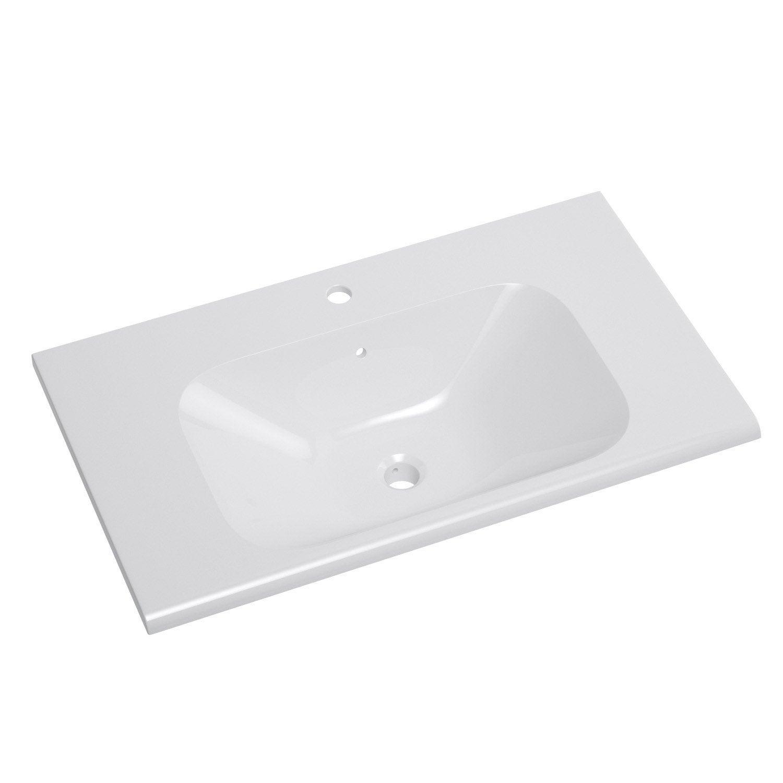 Plan vasque simple opale c ramique 81 cm leroy merlin - Vasque rectangulaire leroy merlin ...