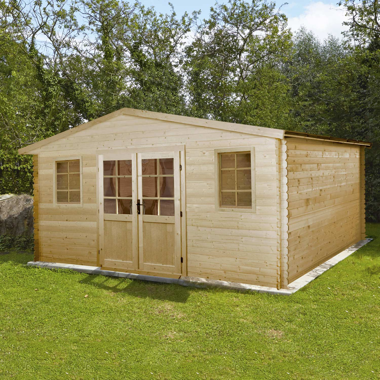 abri de jardin en bois 17 62m2 ep 28mm mod le pully. Black Bedroom Furniture Sets. Home Design Ideas