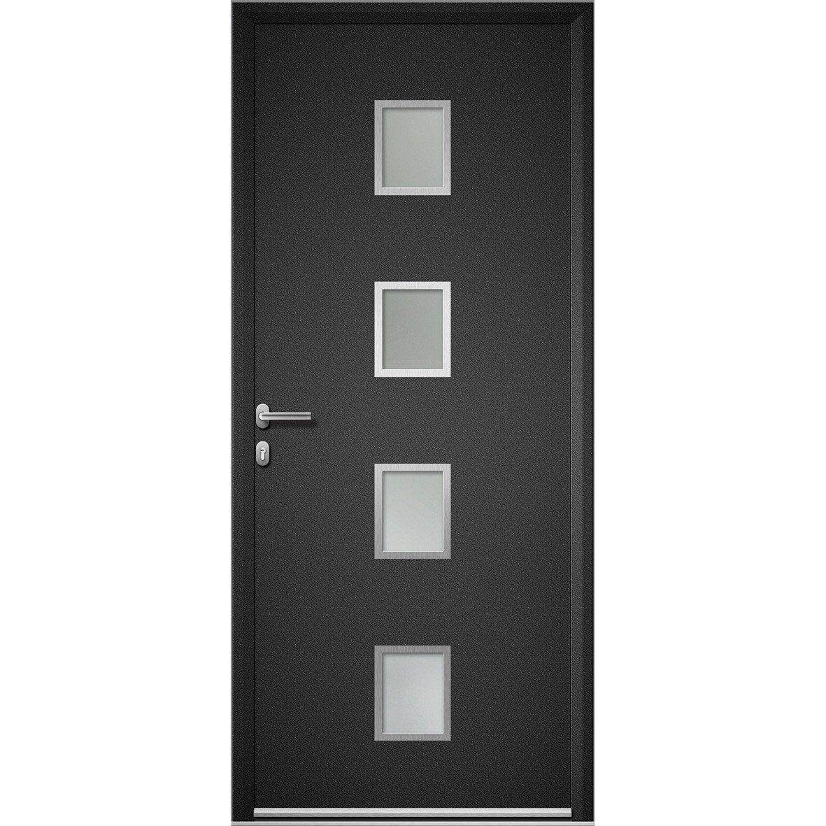 Porte d 39 entr e aluminium baltimore artens poussant gauche x c - Leroy merlin porte entree alu ...