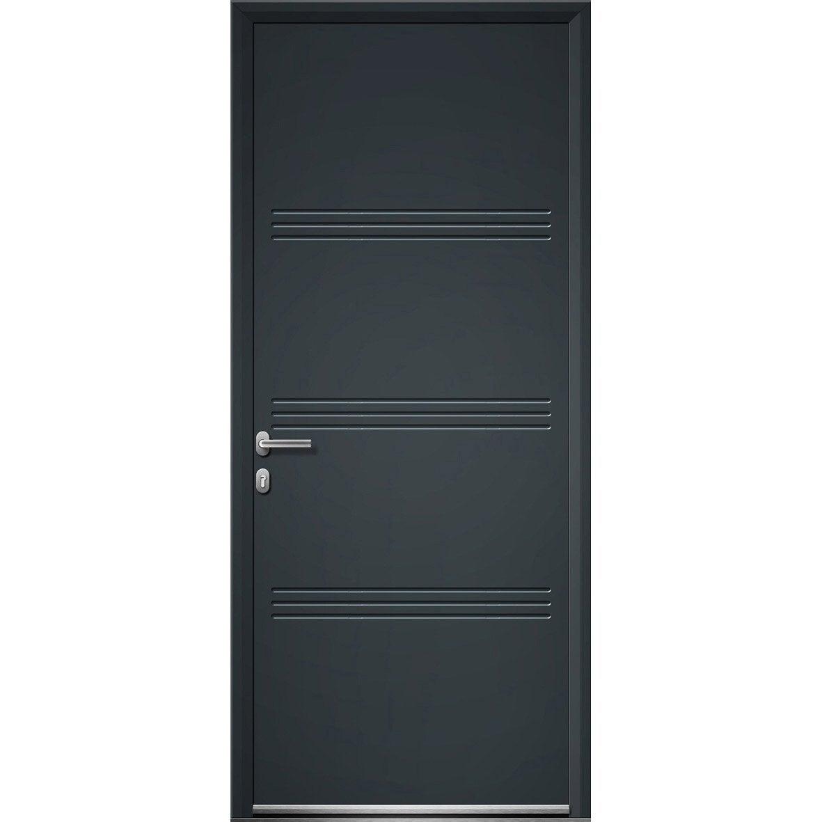 Porte d 39 entr e aluminium plano artens poussant droit x cm l - Leroy merlin porte entree alu ...