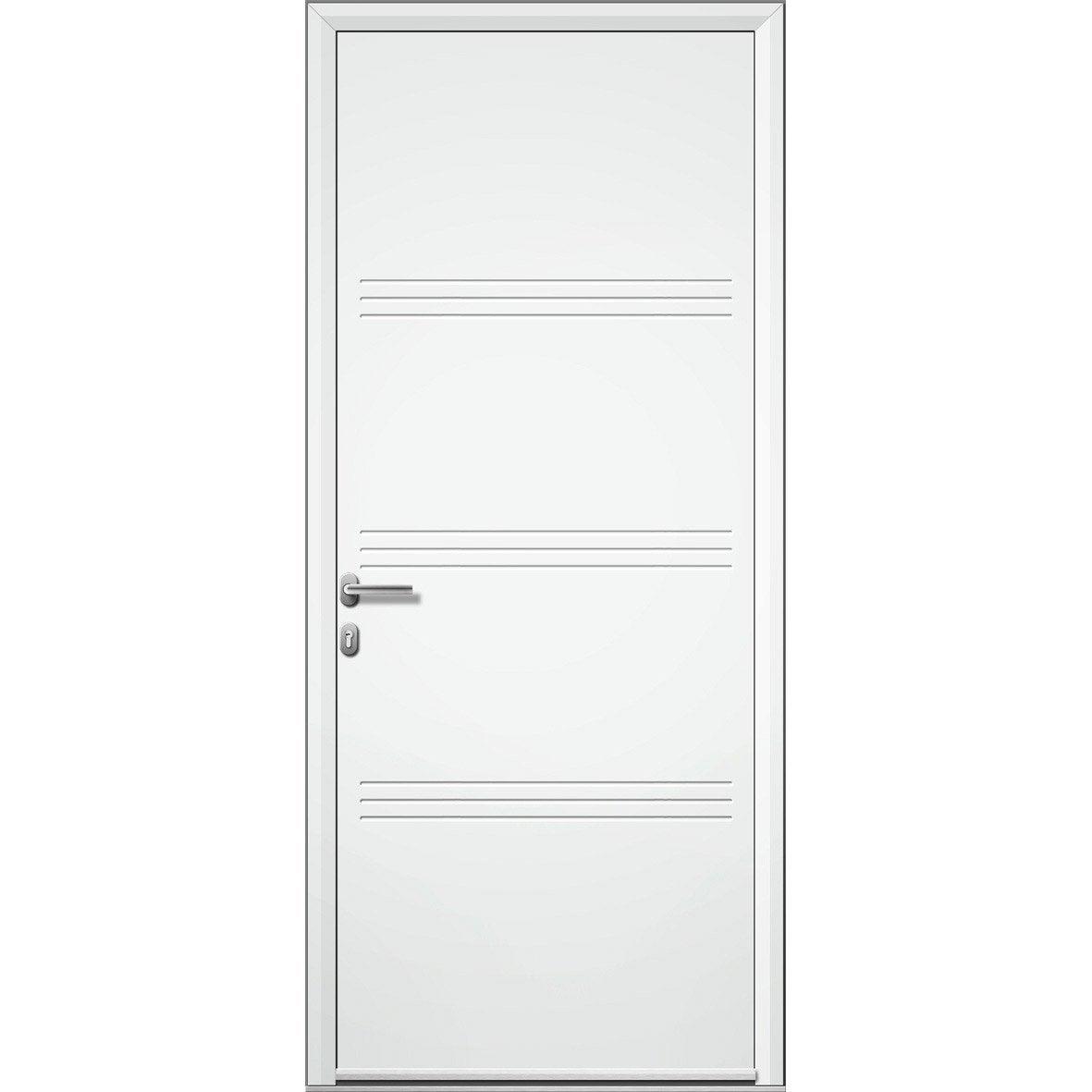 Porte d 39 entr e aluminium plano artens poussant gauche h - Porte entree alu leroy merlin ...