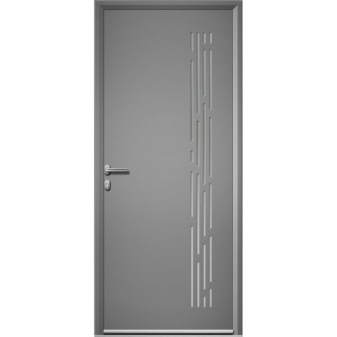 Porte entree maison aluminium nordfolk artens poussant - Leroy merlin porte entree alu ...