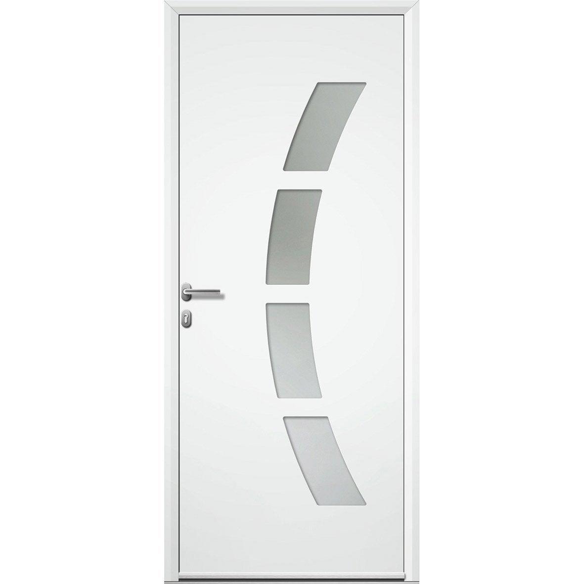 Porte d 39 entr e aluminium toledo artens poussant gauche x cm - Leroy merlin porte entree alu ...