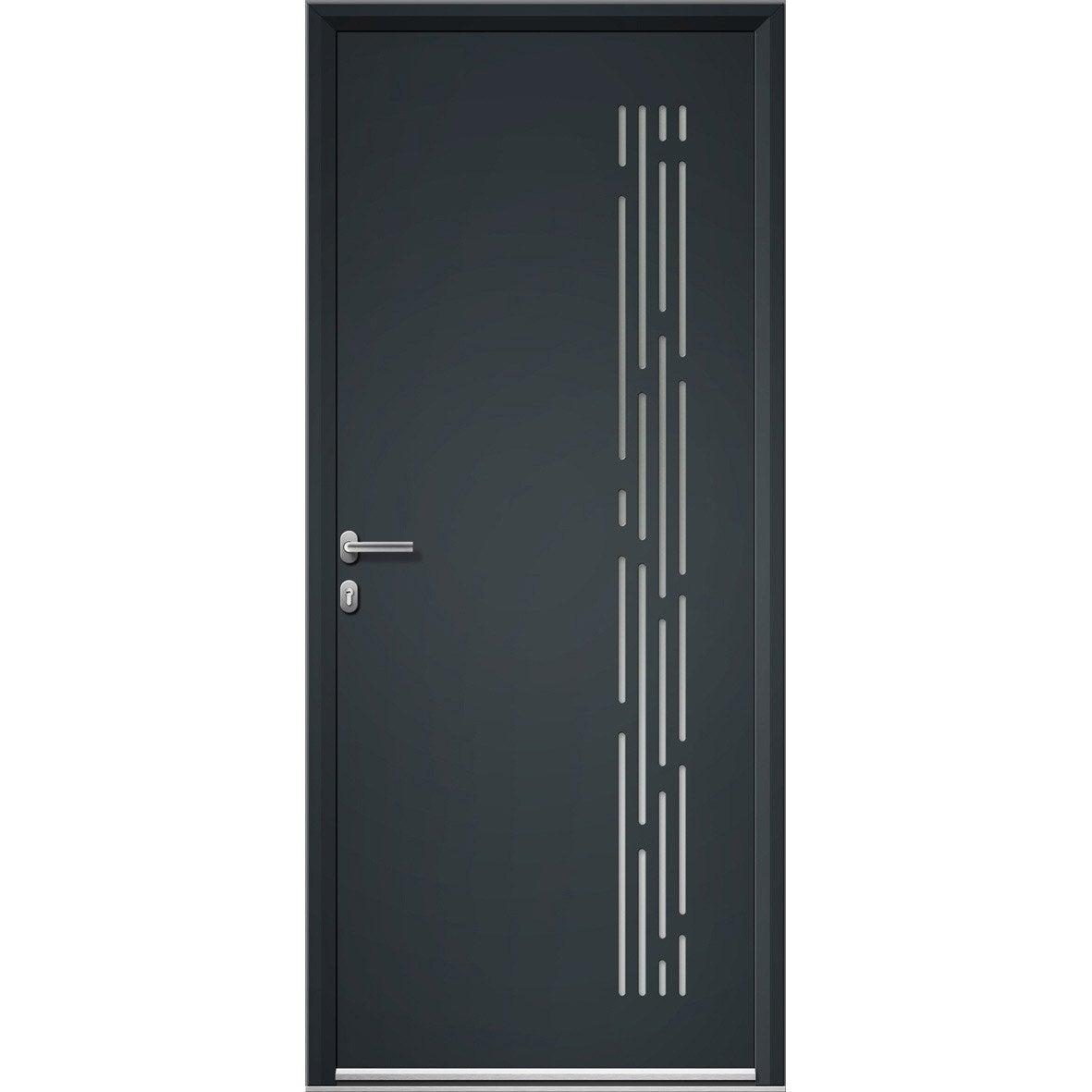 Porte d 39 entr e aluminium nordfolk artens poussant gauche - Porte entree alu leroy merlin ...