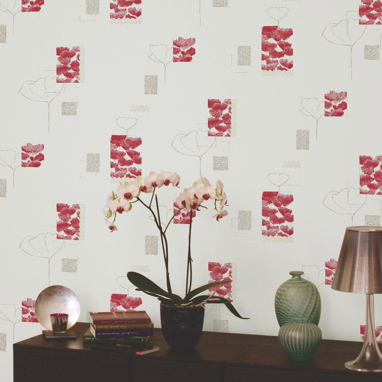 Papier peint expans sur papier coquelicot rouge larg 0 - Peinture sur papier peint leroy merlin ...