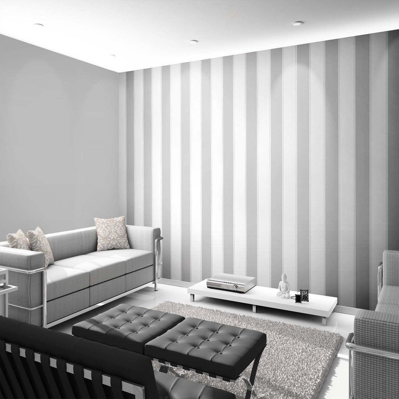 papier peint intiss rayure aurora argent leroy merlin. Black Bedroom Furniture Sets. Home Design Ideas