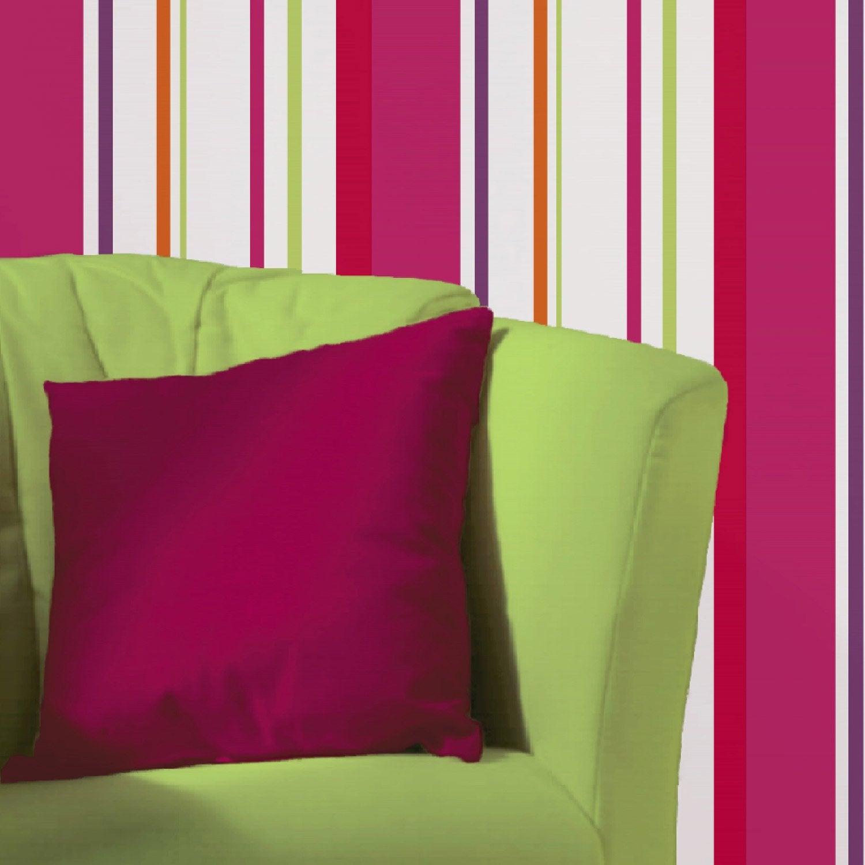 Papier peint papier rayure multicouleur leroy merlin - Papier peint rose leroy merlin ...