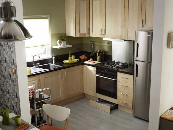 Pin am nagement d une cuisine en l avec lot meubles gris - Regle amenagement cuisine ...