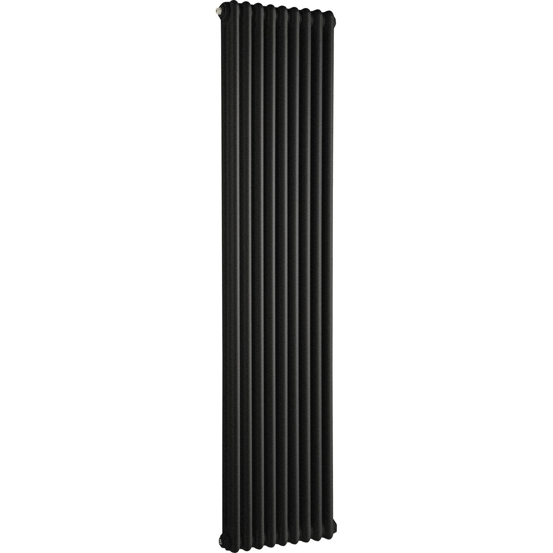 Radiateur chauffage central tesi noir cm 1520 w leroy merlin - Radiateur chauffage central hauteur 40 cm ...