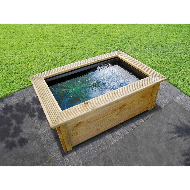 Kit bassin ubbink quadra bois lad marron h 4 cm leroy for Bache pour bassin leroy merlin