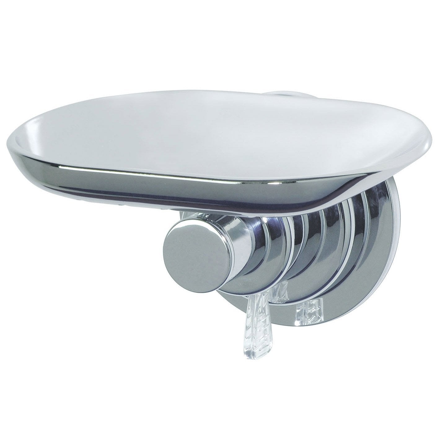 Porte savon chrome a ventouses leroy merlin for Distributeur savon douche mural