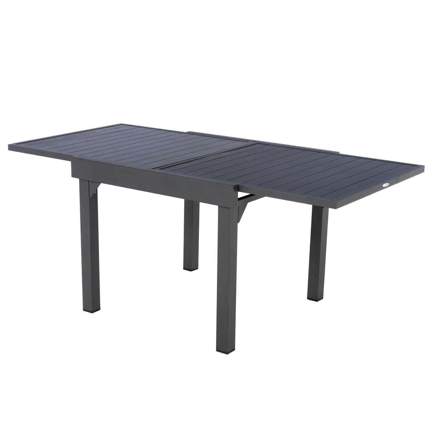 Table de jardin hesperide piazza rectangulaire gris 8 for Table extensible leroy merlin