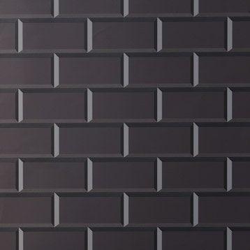 Fond de hotte verre delinia carrelage m tro noir x cm ep 5 mm l - Carrelage metro noir leroy merlin ...