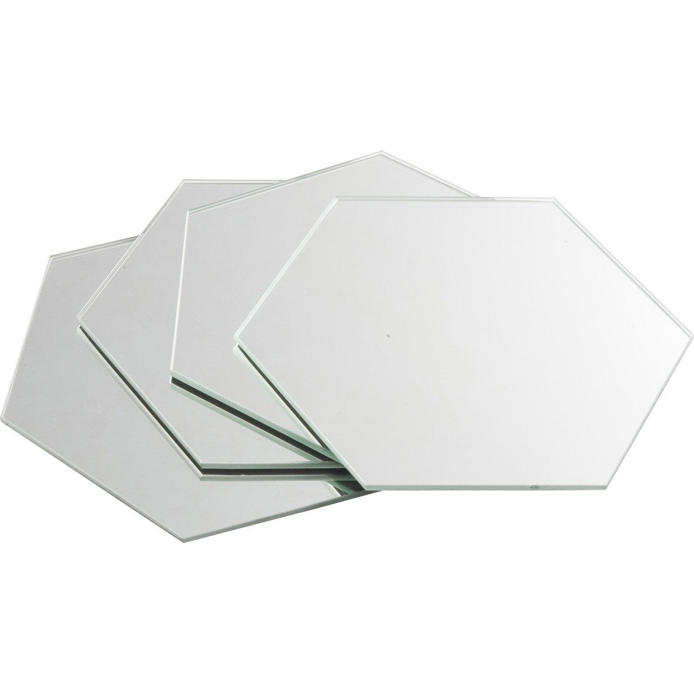Lot de 4 miroirs non lumineux adh sifs hexagonaux x l for Miroir hexagonal cuivre