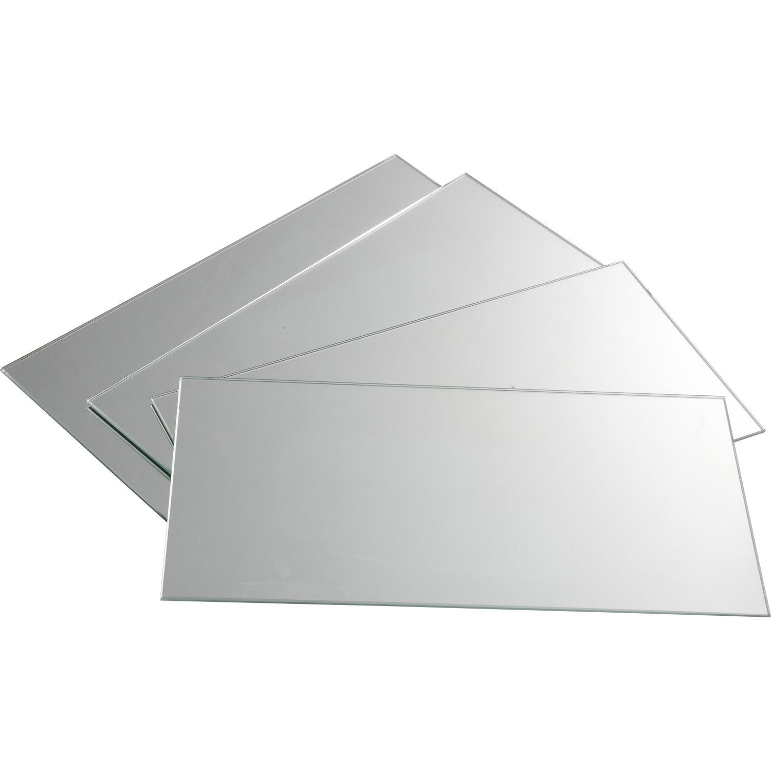 Lot de 4 miroirs non lumineux adh sifs rectangulaires for Grand miroir leroy merlin