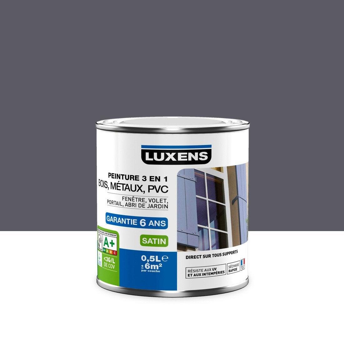 Peinture multimat riaux ext rieur 3en1 luxens satin gris - Peinture leroy merlin luxens ...