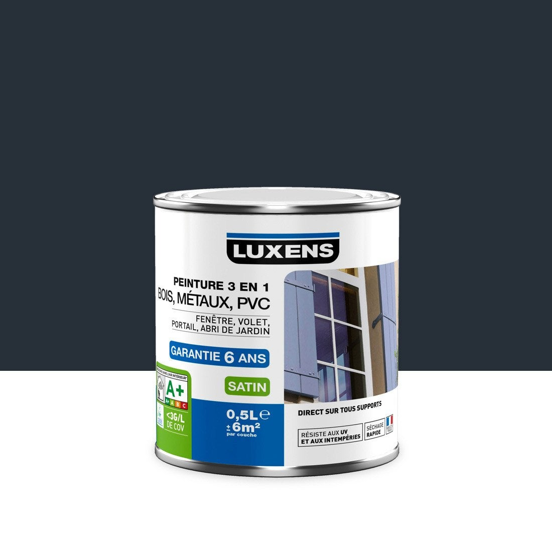 Peinture multimat riau ext rieur 3 en 1 luxens gris anthracite 0 5 l leroy merlin for Peinture coloris