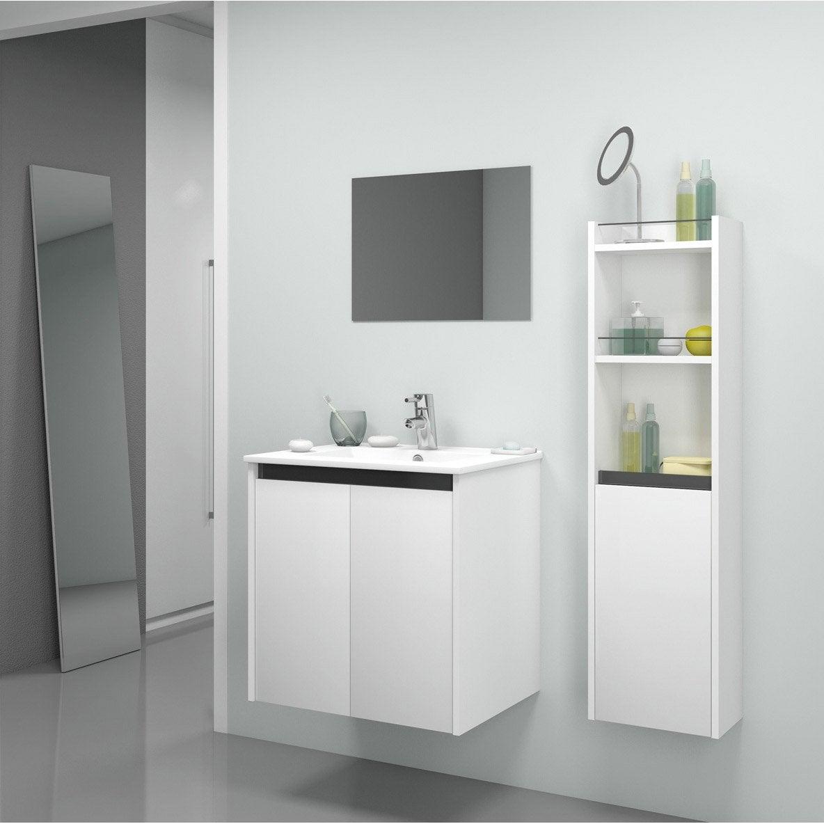 Meuble de salle de bains first blanc 61x46 cm 2 portes for Porte meuble salle de bain leroy merlin