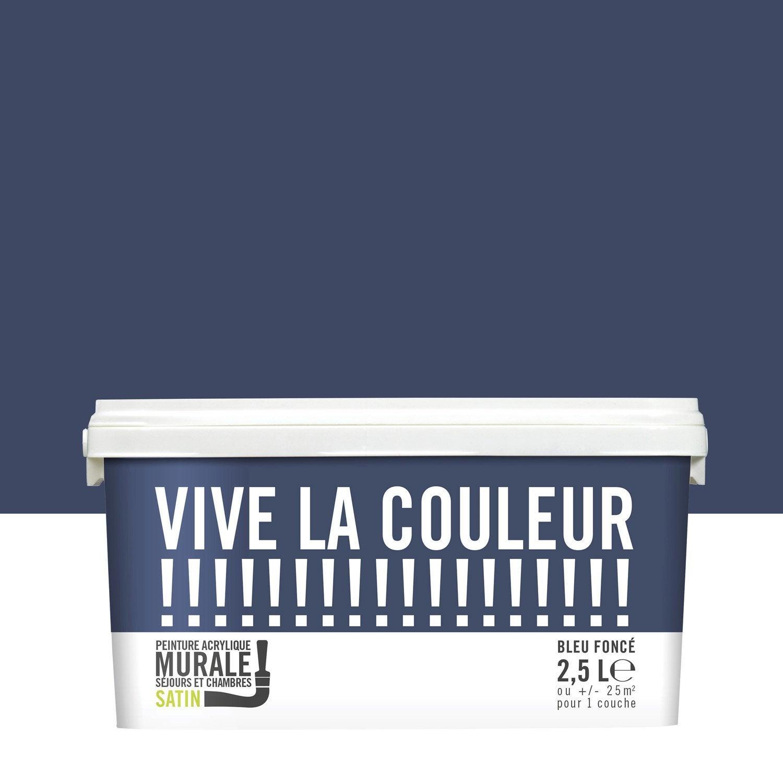 Peinture bleu fonc? VIVE LA COULEUR! 2.5 l Leroy Merlin ~ Grillage Vive Le Jardin