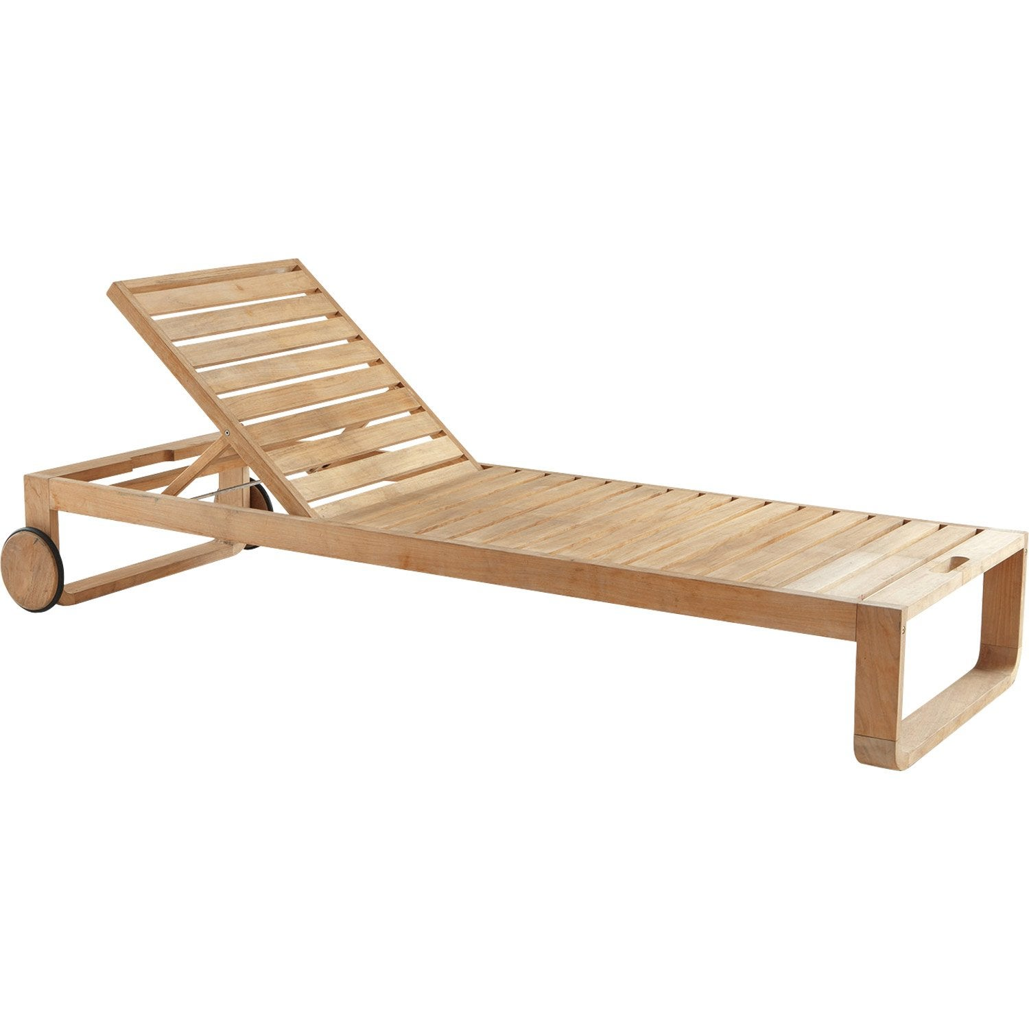 Bain de soleil de jardin en bois resort naturel leroy merlin for Chaise longue bain de soleil pliable
