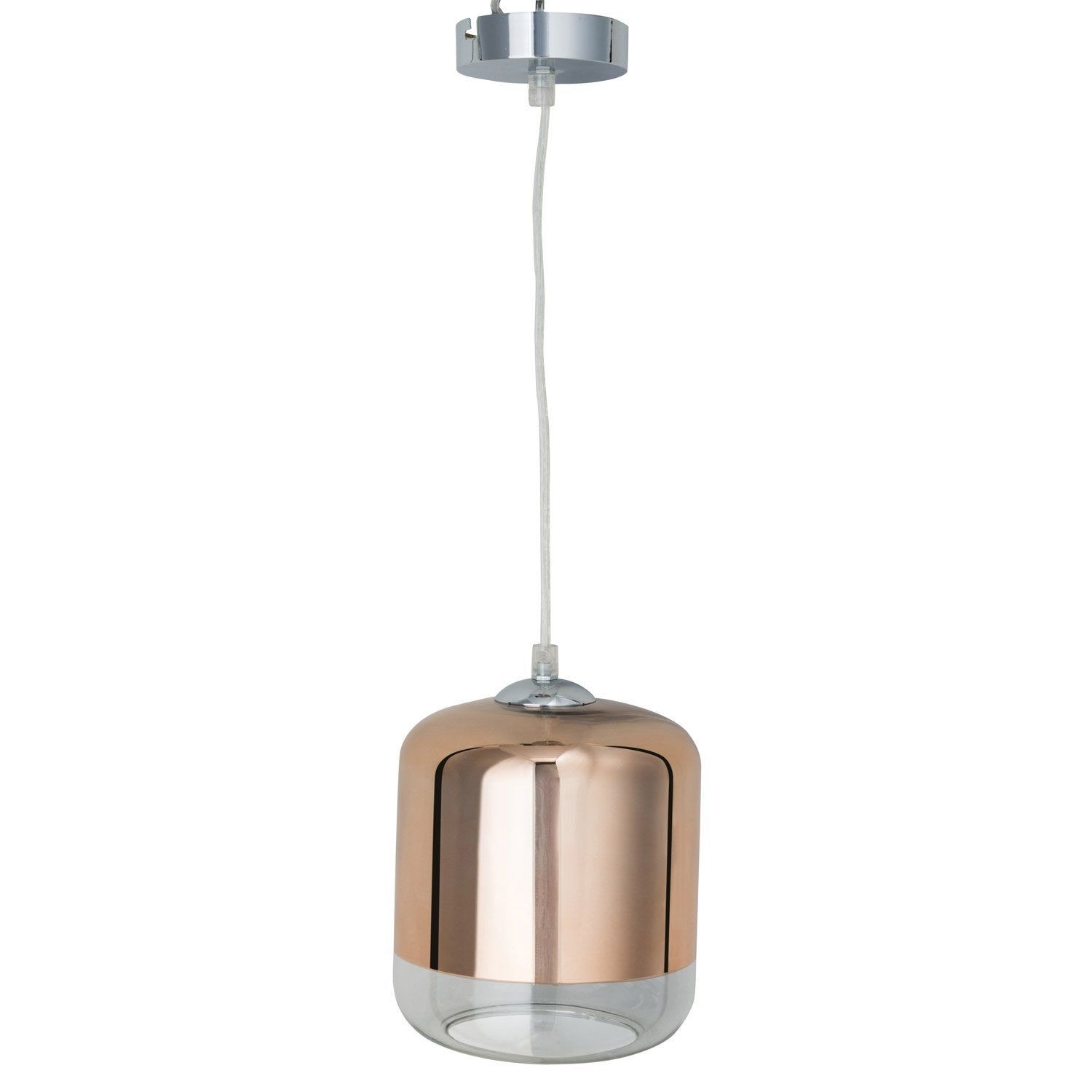 Suspension design myrta verre cuivre 1 x 60 w inspire for Luminaire suspension cuivre