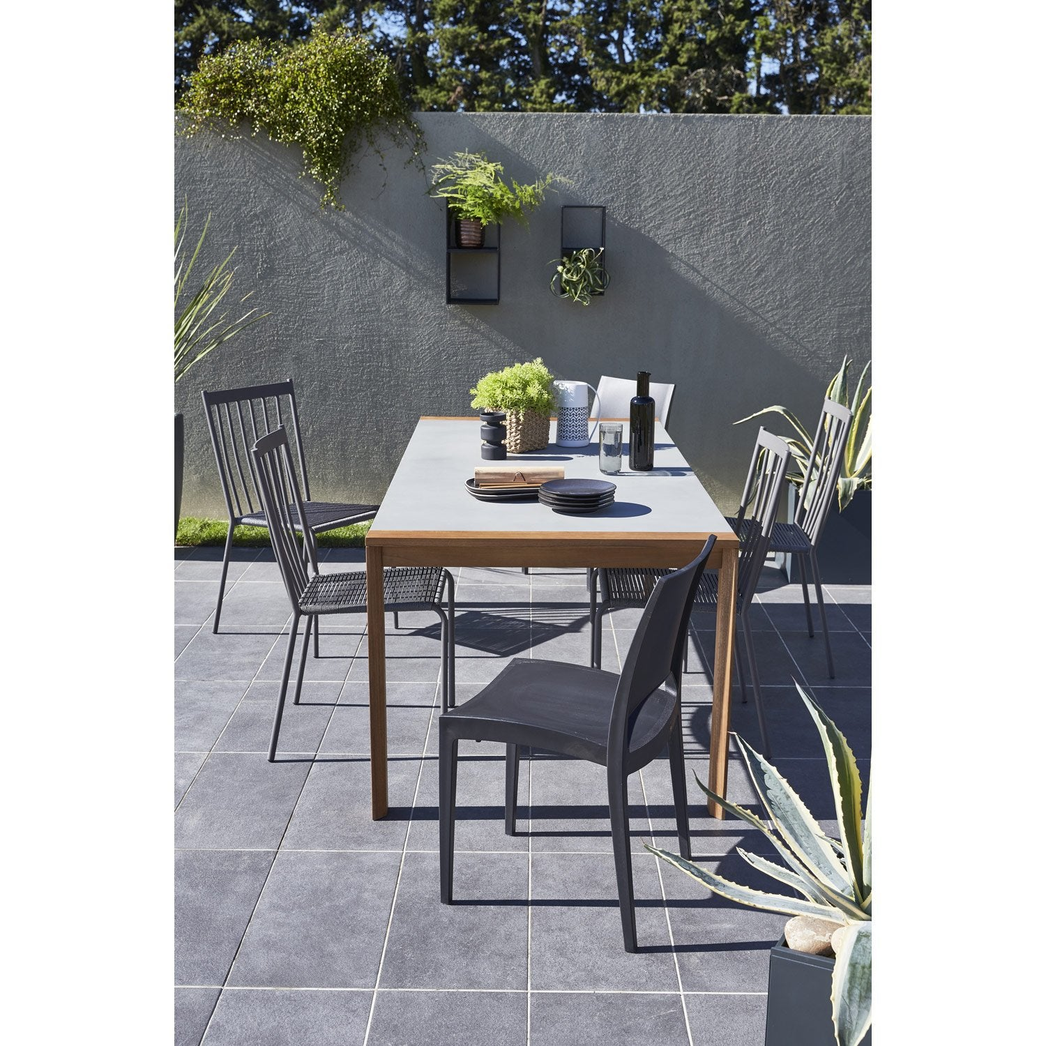 table de jardin berlin rectangulaire gris 6 personnes. Black Bedroom Furniture Sets. Home Design Ideas