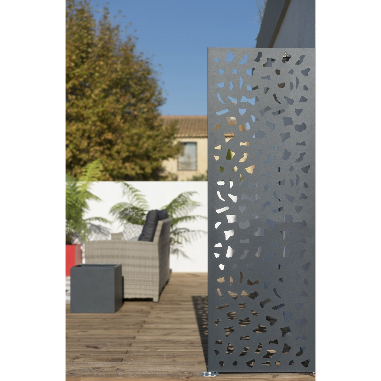 panneau acier occultant x cm gris leroy merlin. Black Bedroom Furniture Sets. Home Design Ideas