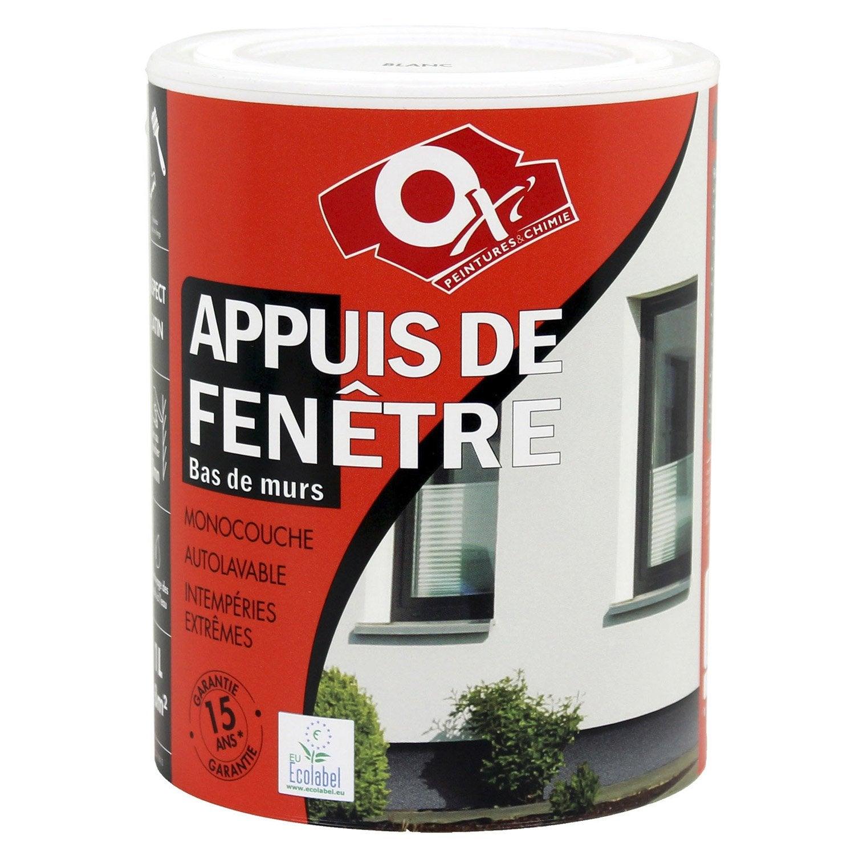 Peinture appui de fen tre oxytol blanc 1 l leroy merlin for Peinture pour appui de fenetre en beton