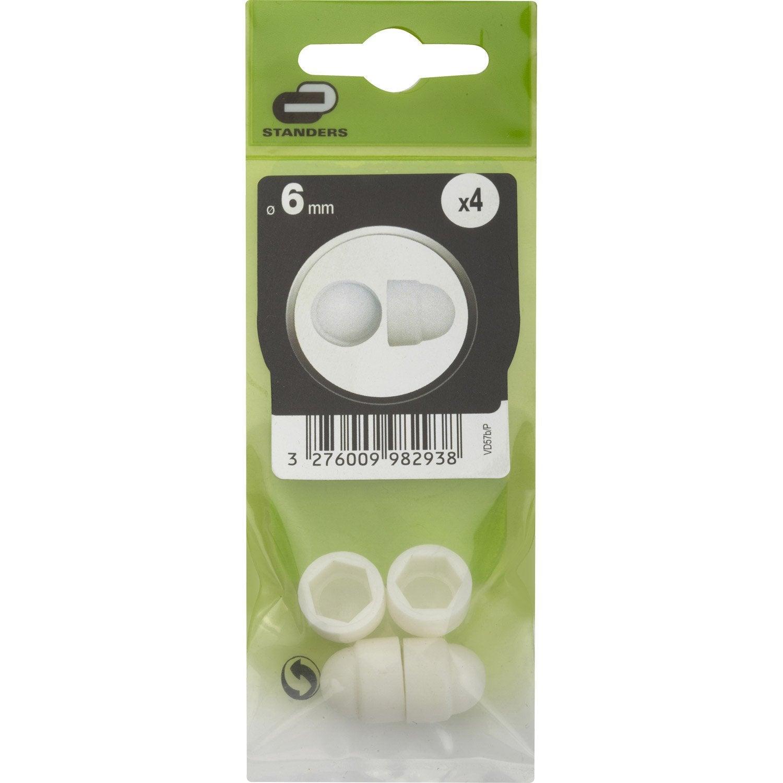 lot de 4 cache vis plastique t te 6 pans standers diam 6 mm leroy merlin. Black Bedroom Furniture Sets. Home Design Ideas
