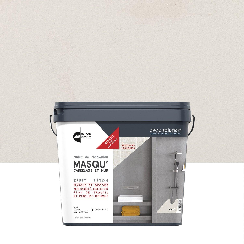 Enduit masqu 39 carrelage et mur maison deco pierre 9 kg leroy merlin for Prix peinture pour carrelage salle de bain
