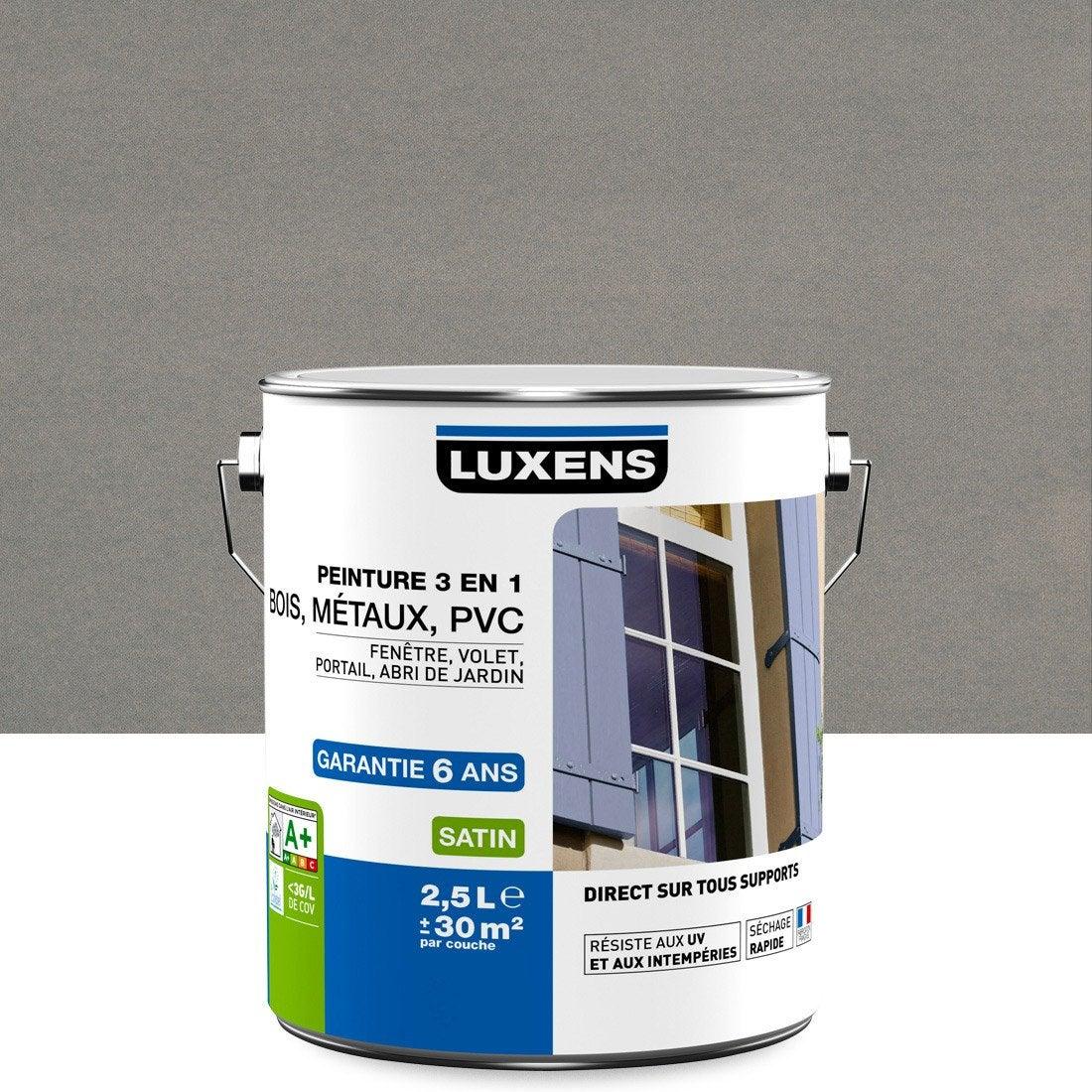 Peinture multimateriaux exterieur 3en1 luxens satin gris zingue n 3 2 - Crepi exterieur leroy merlin ...