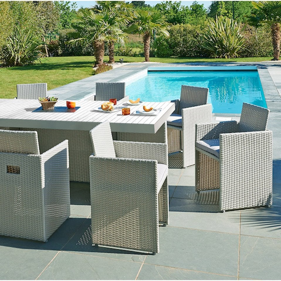 Salon de jardin mediterran e r sine tress e gris 1 table for Salon de jardin gris en resine tressee