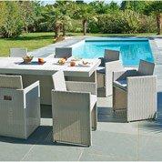 Salon de jardin Mediterranée résine tressée gris 1 table + 8 fauteuils