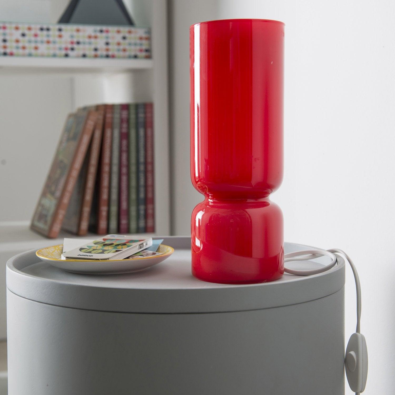 lampe diabolo inspire verre rouge 40 w leroy merlin. Black Bedroom Furniture Sets. Home Design Ideas