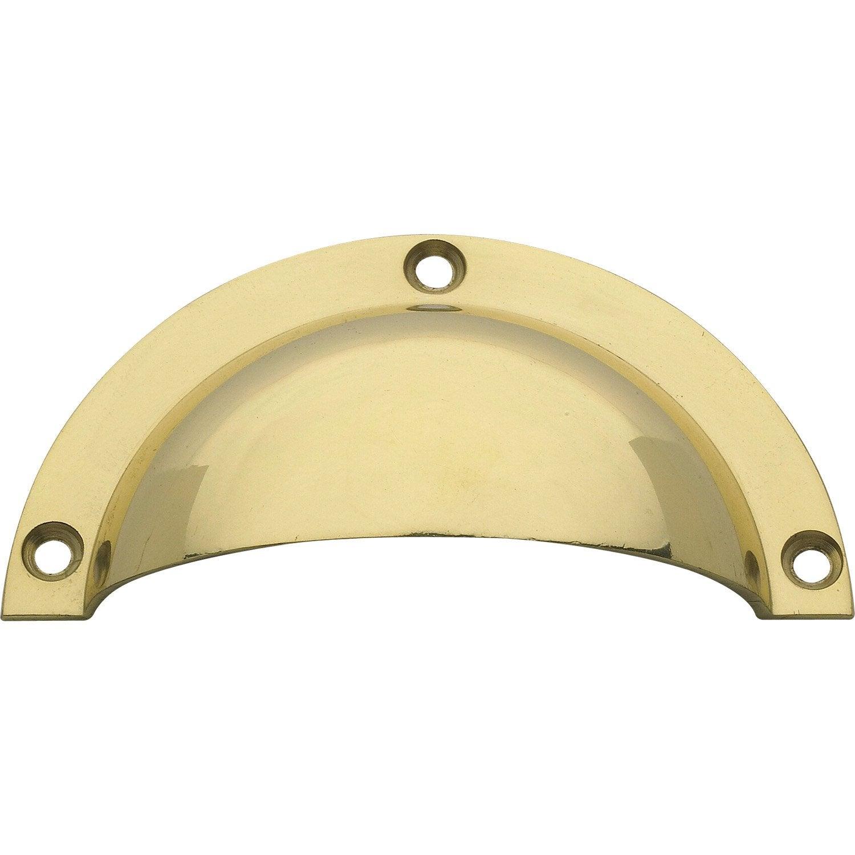 Poign e de meuble coquille laiton poli entraxe 90 mm for Poignee de meuble coquille