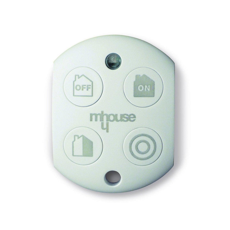 T l commande 4 touches pour alarme maison mhouse blanc for Alarme pour maison individuelle leroy merlin
