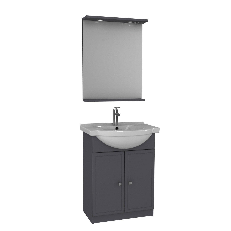 Meuble sous vasque x x cm gris galice - Leroy merlin meuble sous vasque ...
