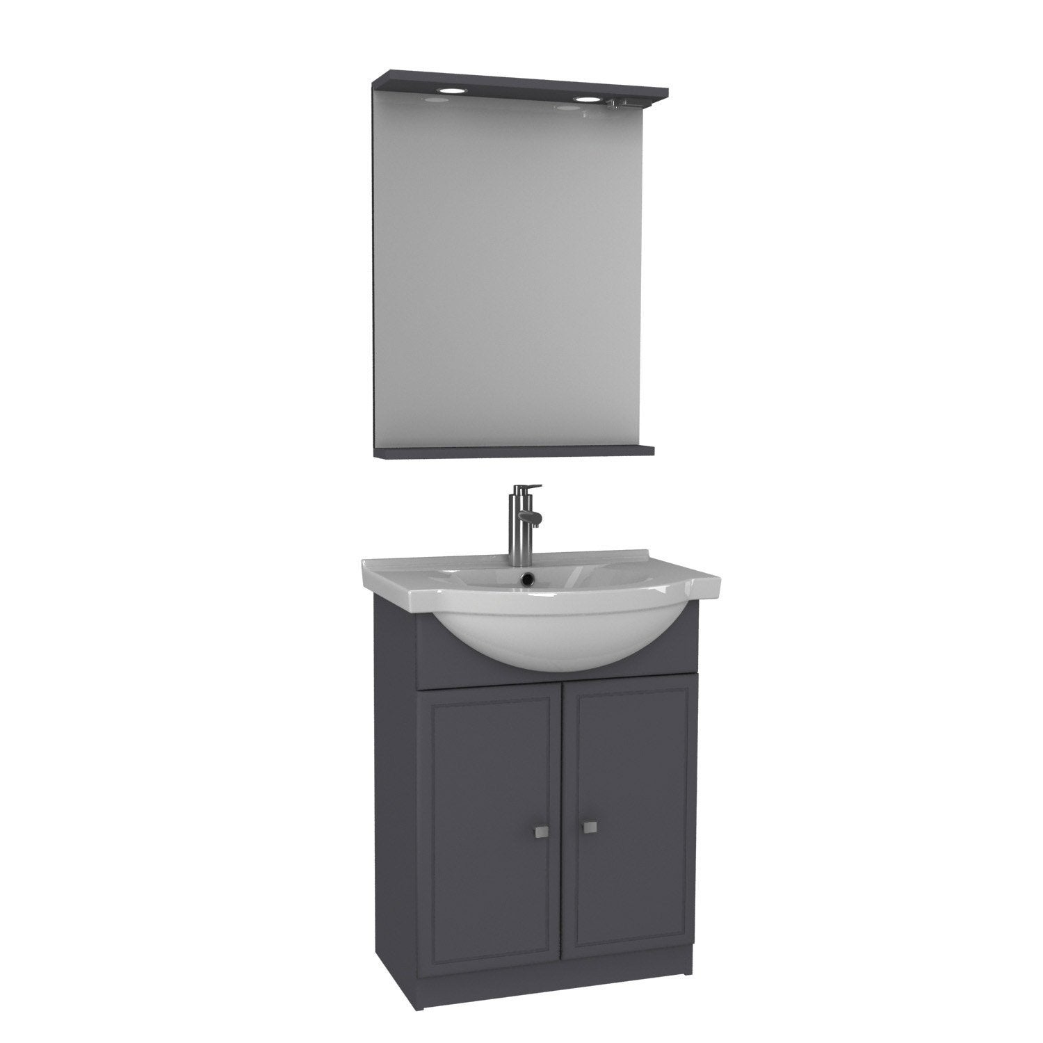 Meuble vasque 65 cm galice leroy merlin for Meuble salle de bain double vasque brico depot