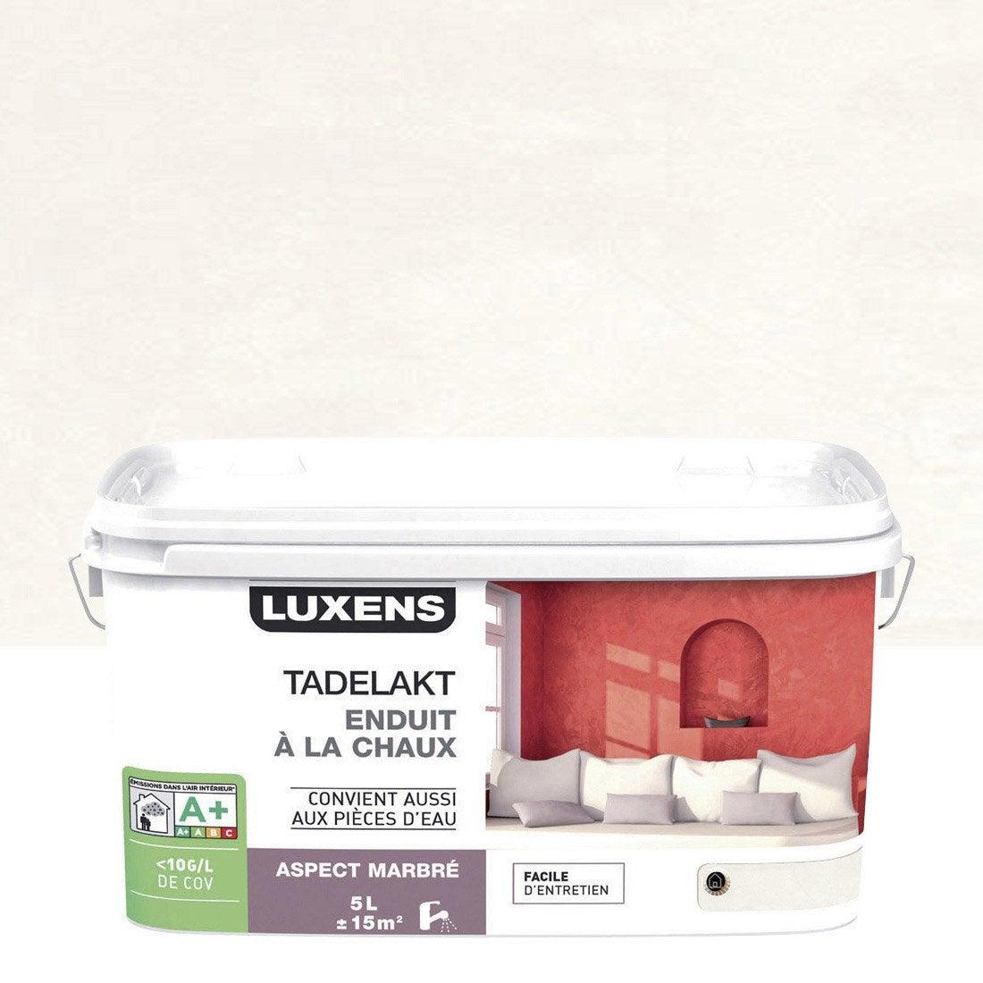 Enduit d coratif tadelakt luxens blanc calcaire 3 5 l for Enduit decoratif blanc