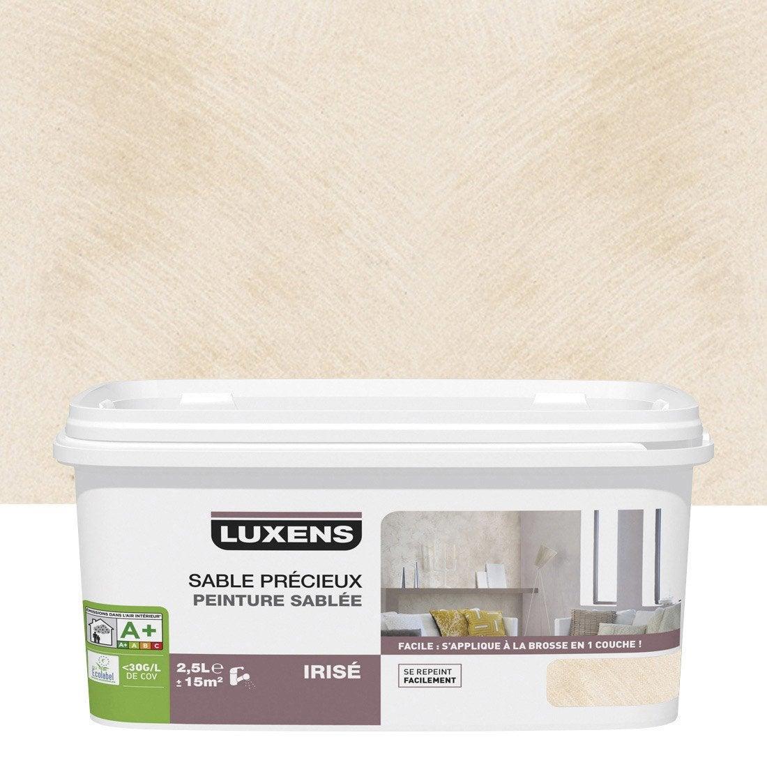 Peinture effet sable pr cieux luxens blanc lin 6 2 5 - Peinture lambris leroy merlin ...