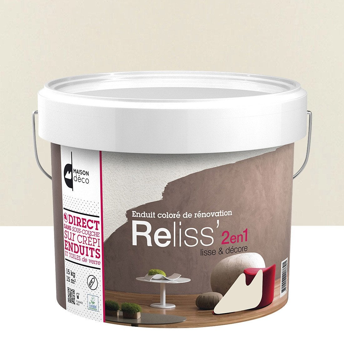Enduit d coratif reliss 2 en 1 maison deco laine 15 kg for Enduit decoratif mur interieur