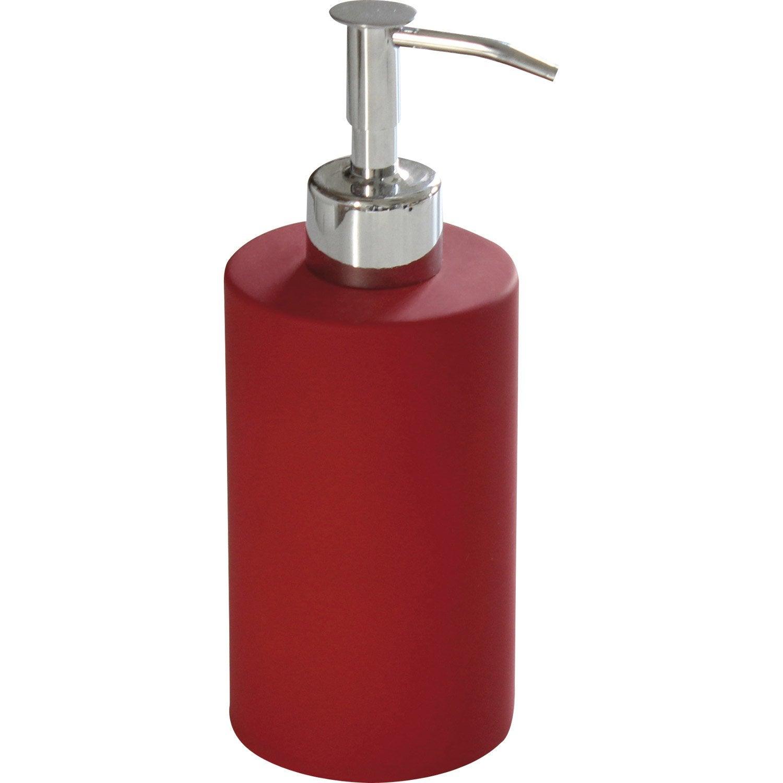 Distributeur de savon c ramique rouge rouge n 3 leroy merlin for Distributeur salle de bain
