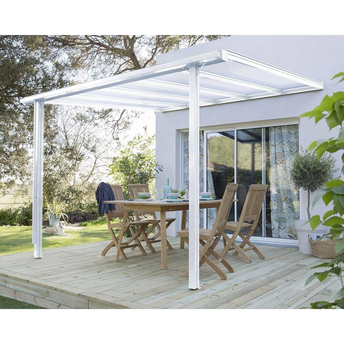 couverture de terrasse murale aluminium blanche m. Black Bedroom Furniture Sets. Home Design Ideas