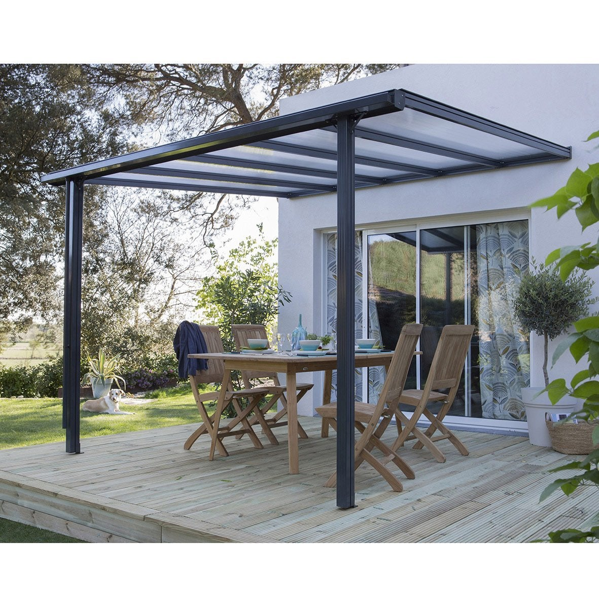 Couverture de terrasse adoss e tradition aluminium gris m leroy merlin - Abri de terrasse retractable ...