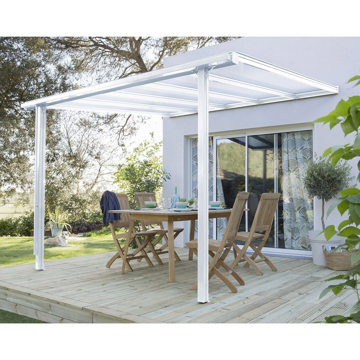 Couverture de terrasse adoss e tradition aluminium blanche m leroy merlin for Couverture pour terrasse
