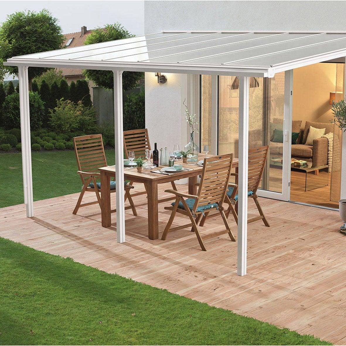 couverture de terrasse adoss e tradition aluminium blanche m leroy merlin. Black Bedroom Furniture Sets. Home Design Ideas